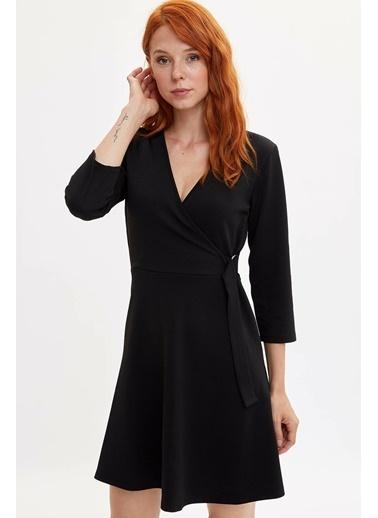 DeFacto Kruvaze Kuşaklı Elbise Siyah